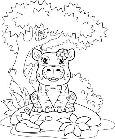 little cute hippo, coloring book, funny illustration  イラスト・ベクター素材