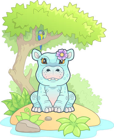 cute little hippo with a flower, funny illustration