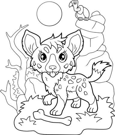 cartoon little cute hyena, coloring book, funny illustration