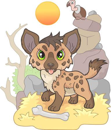 cartoon little cute hyena, funny illustration, design Vettoriali