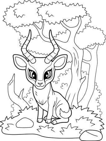 cartoon little cute impala antelope, coloring book, funny illustration