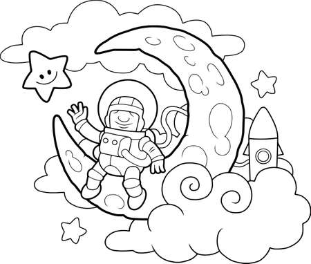 Cartoon funny astronaut sitting on the moon coloring book  イラスト・ベクター素材