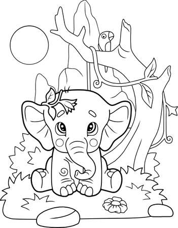 cartoon little cute elephant sits on grass, coloring book, funny illustration