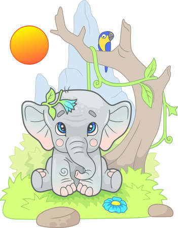 little cute elephant sits on the grass, funny illustration