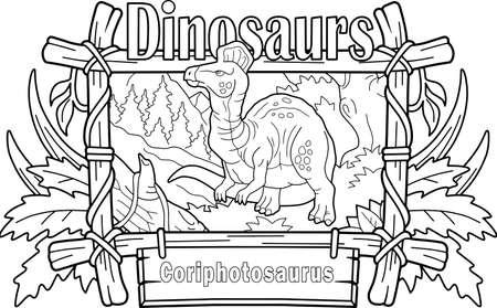 Prehistoric dinosaur Corythosaurus, coloring book, contour illustration