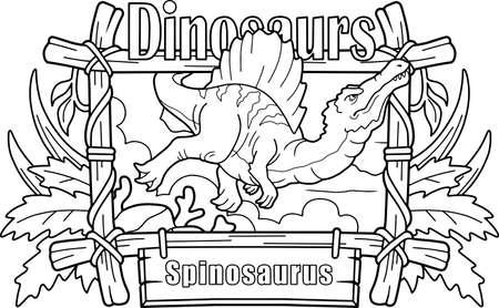 predatory dinosaur spinosaurus, hunts underwater, coloring book, funny illustration 写真素材 - 149534916