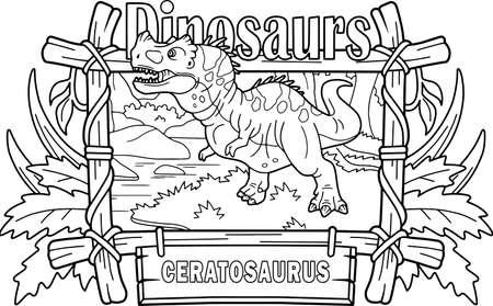 prehistoric predatory dinosaur ceratosaurus, went hunting, coloring book