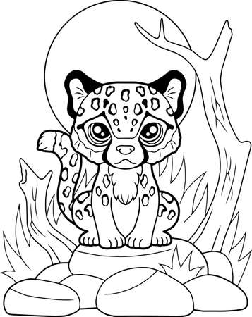 cartoon little cute cheetah sitting on stones, coloring book, funny illustration