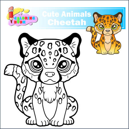 cartoon little cute cheetah sitting, funny illustration