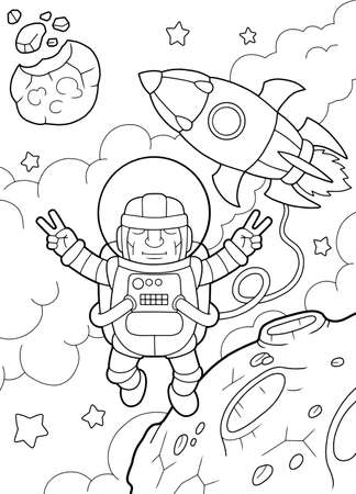 cartoon funny astronaut flies in space, coloring book, cute illustration