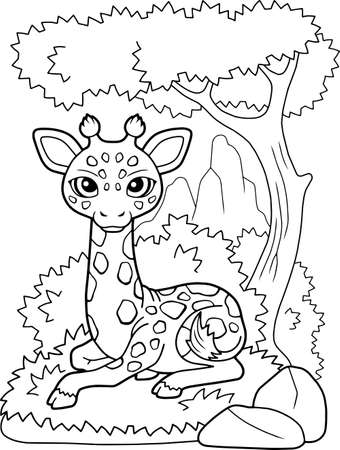 little cute giraffe lies on the grass, coloring book  イラスト・ベクター素材