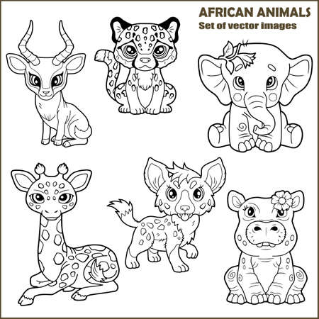 cute cartoon african animals, set of funny images