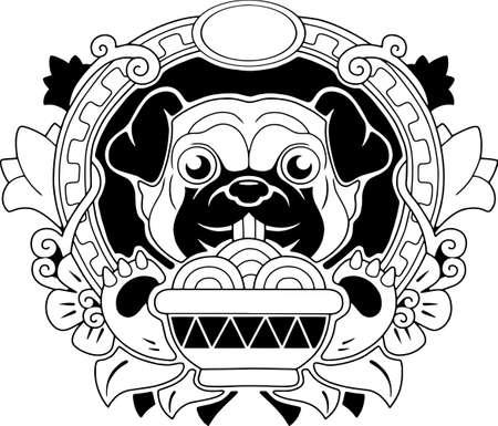 little cute pug dog eating ramen noodles, funny illustration