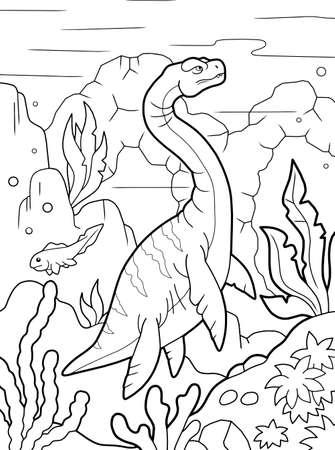 cartoon prehistoric dinosaur plesiosaurus, coloring book, funny illustration