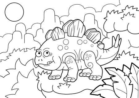 cartoon prehistoric stegosaurus dinosaur, coloring book, funny illustration