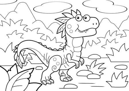 cartoon prehistoric dinosaur velociraptor, coloring book, funny illustration
