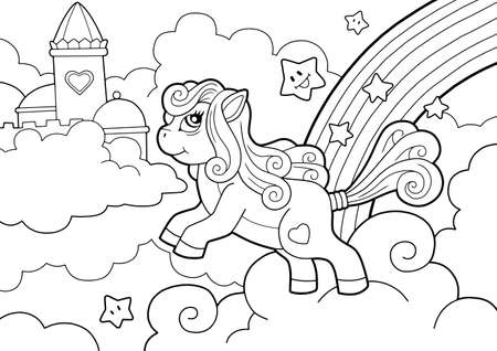 cartoon cute pony, coloring book, funny illustration  イラスト・ベクター素材