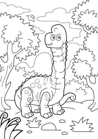 giant prehistoric dinosaur brachiosaurus, coloring book, funny illustration Vettoriali
