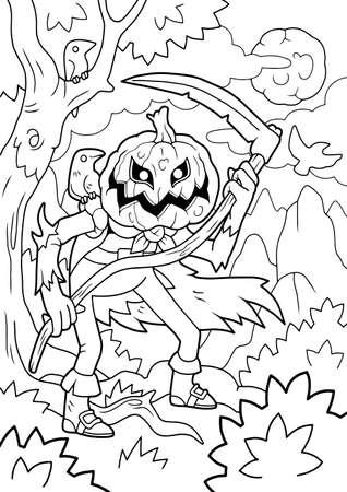 cartoon halloween monster jack lantern, coloring book, funny illustration Vettoriali