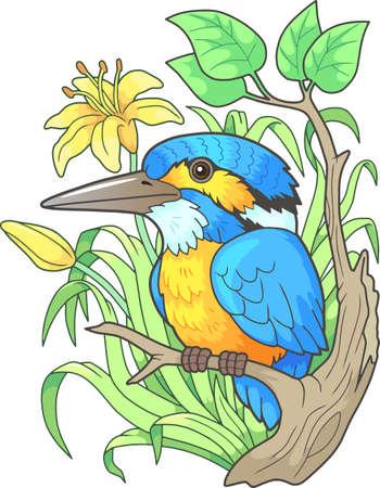 cartoon cute kingfisher bird, funny design illustration