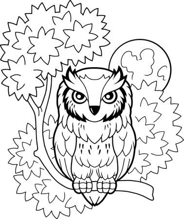 cartoon cute owl sitting on a branch, coloring book, funny illustration