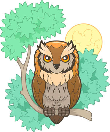 cute cartoon owl sitting on a branch, funny illustration  イラスト・ベクター素材