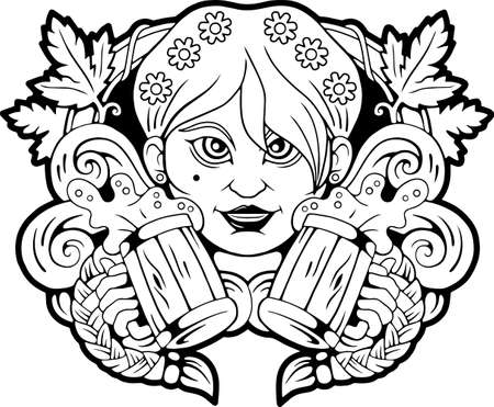 cute girl with beer in hands, funny illustration Vettoriali