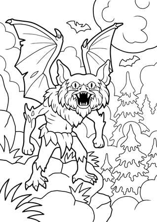cartoon angry vampire, coloring book, funny illustration Vettoriali
