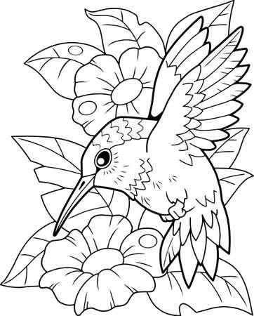 cartoon cute hummingbird bird, coloring book, funny illustration Vettoriali