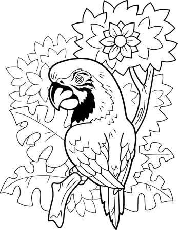 cute cartoon parrot, coloring book, funny illustration Vettoriali