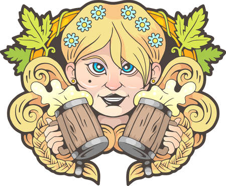 cute girl with beer in hands, funny illustration,