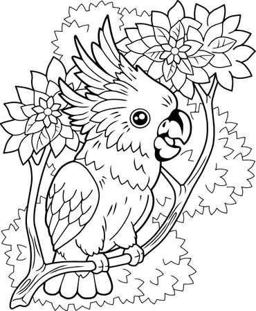 cute cartoon cockatoo parrot, coloring book, funny illustration Vettoriali