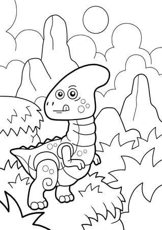 cartoon cute dinosaur parasaurolophus, coloring book, funny illustration