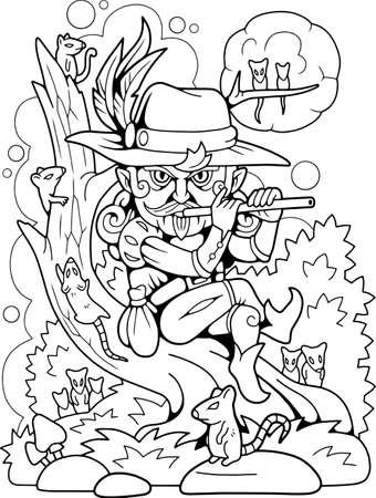 cartoon Pied Piper from Hamelin, coloring book, funny illustration Vettoriali