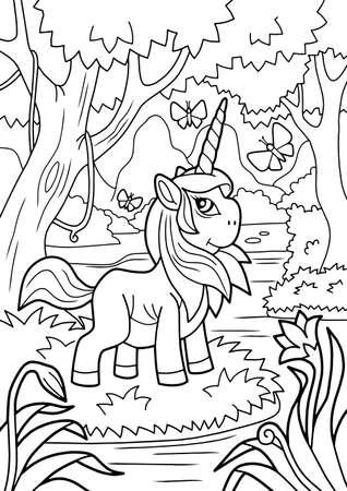 cute cartoon unicorn, coloring book, funny illustration