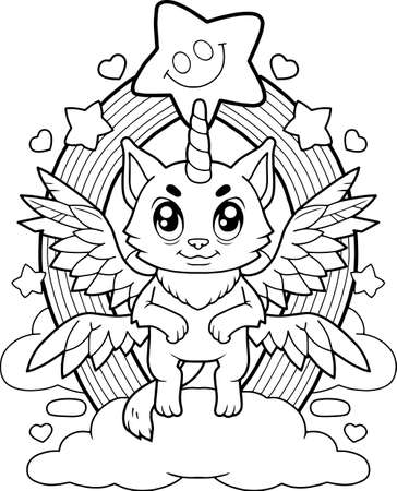 cartoon cute cat unicorn, coloring book, funny illustration Vettoriali