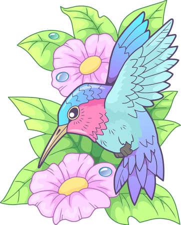 cartoon cute little hummingbird, funny illustration Vettoriali