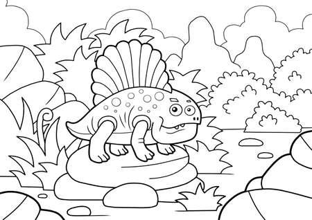 cartoon cute dinosaur dimetrodon, coloring book, funny illustration
