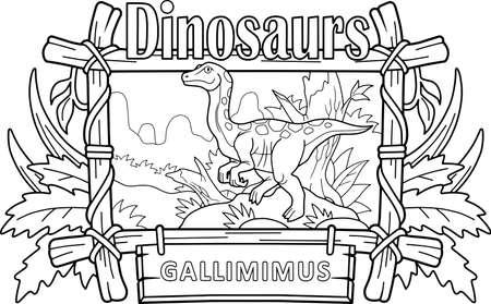 cartoon dinosaur gallimimus, coloring book, funny illustration