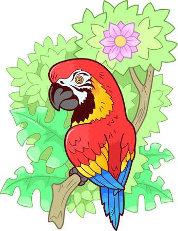 cartoon cute macaw parrot sitting on branch, funny illustration
