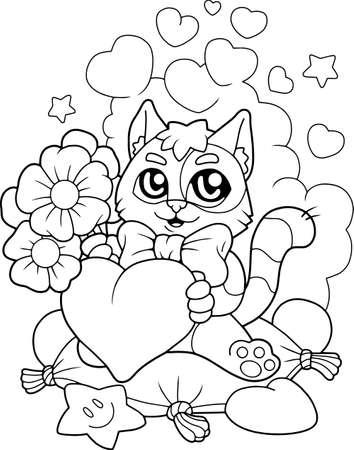 cartoon cute kitten with flowers, coloring book, funny illustration Vektoros illusztráció