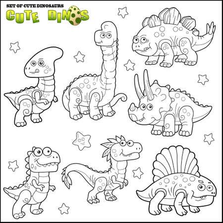 cartoon cute dinosaurs, coloring book, set of images