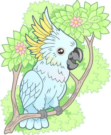 cartoon cute cockatoo parrot sitting on branch funny illustration