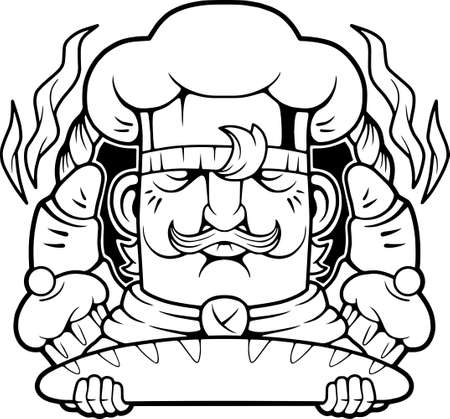 cartoon cute chef with baked goods in hands, funny illustration