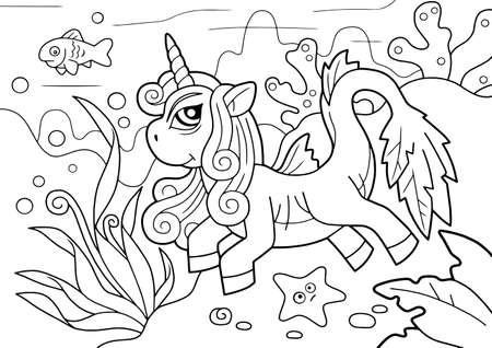 cute pony unicorn swims underwater, coloring book