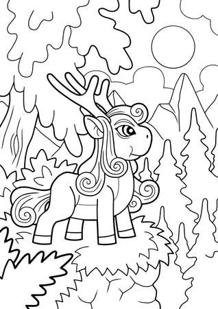 little cute pony, coloring book, funny illustration 矢量图像