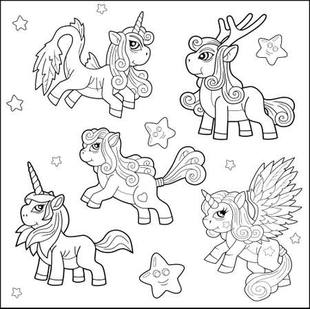 cartoon funny ponies, coloring book, set of images