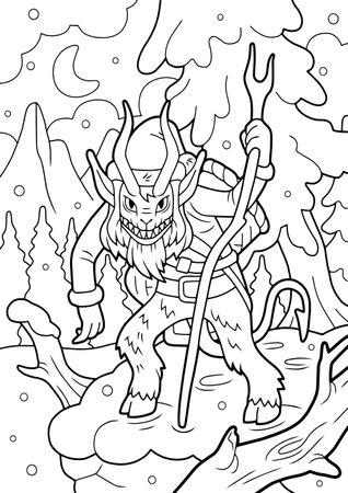 cartoon mythological monster krampus, coloring book, funny illustration