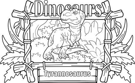 predatory prehistoric dinosaur tyrannosaurus, coloring book, funny illustration