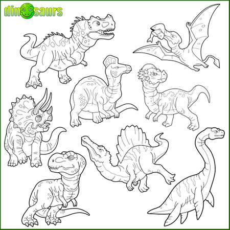prehistoric dinosaurs, coloring book, set of cartoon images